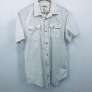 Diesel men's pearl snap top white with gray dots L